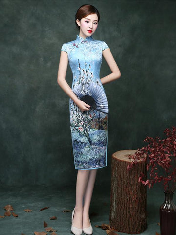 Blue Plum Blossom Short Cheongsam Dress - Zebrant