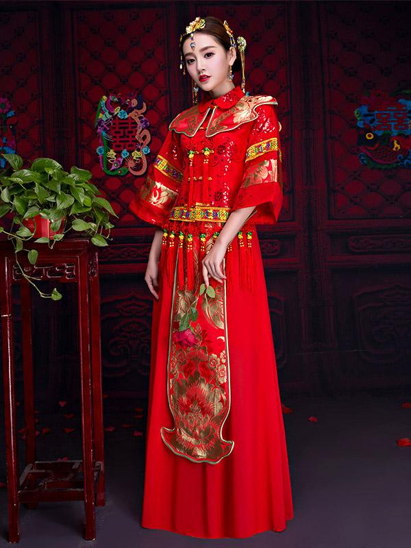 Summer Chiffon Embroidered Draping Lapel Xiuhe Suit Toast Suit Wedding Dress - Zebrant