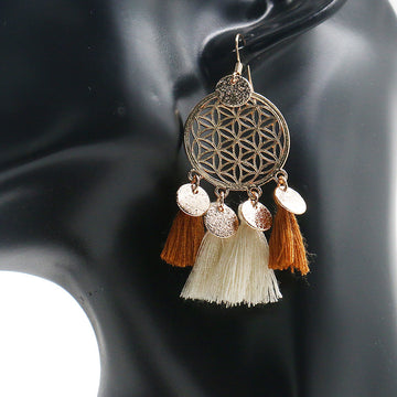 Alloy new circle long tassel Bohemian Earrings Wholesale - Zebrant