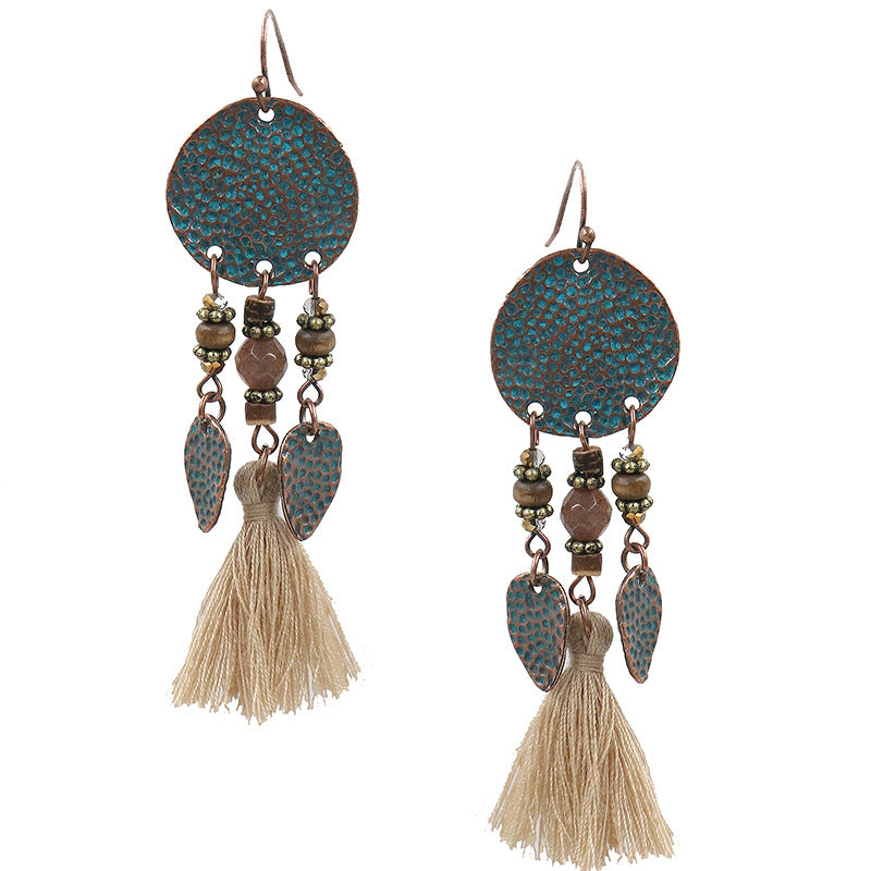 Vintage temperament tassel earrings female bohemian earrings - Zebrant