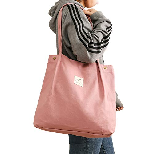 Tote Bag for Women Girls Kids Shoulder Bag with Inner Pocket For Work Beach Lunch Travel And Shopping Grocery(Pink) - Zebrant