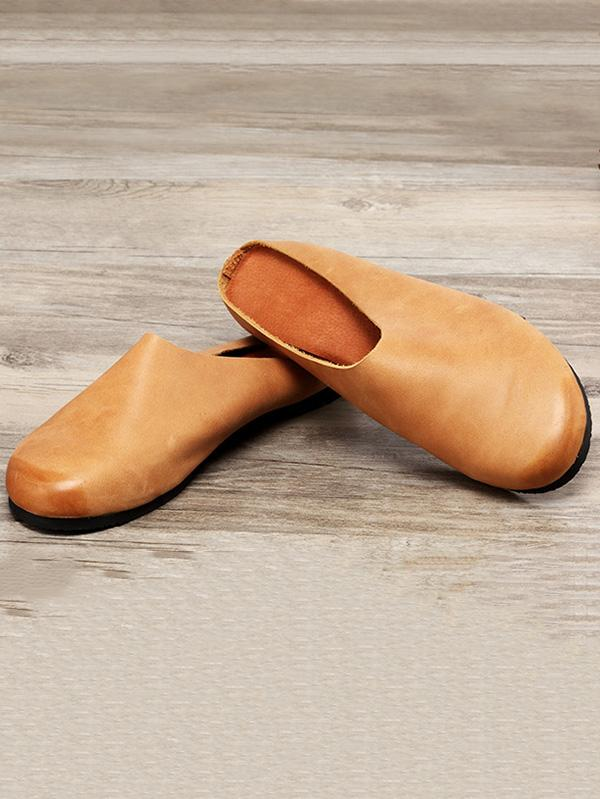 Casual Countryside Style Leather Slippers in Gray or Brown Color