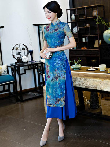 Vintage Blue Floral Stand-collar Ao Dai Long Cheongsam - Zebrant
