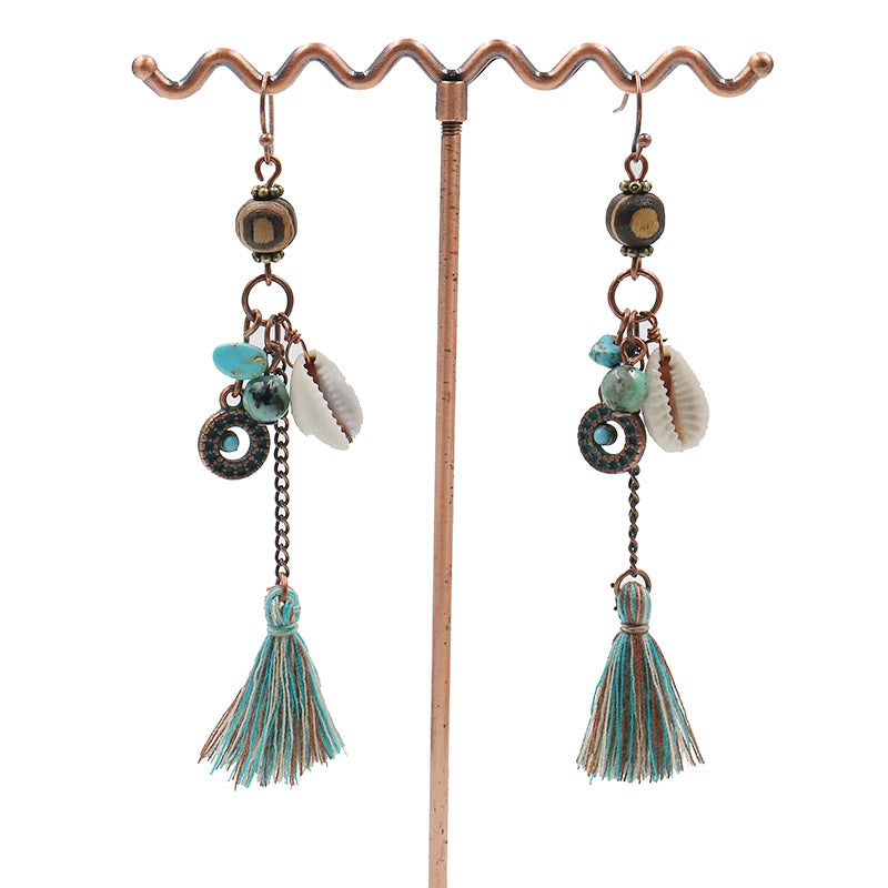Long tassel jewelry original handmade earrings vintage wooden beads shell - Zebrant