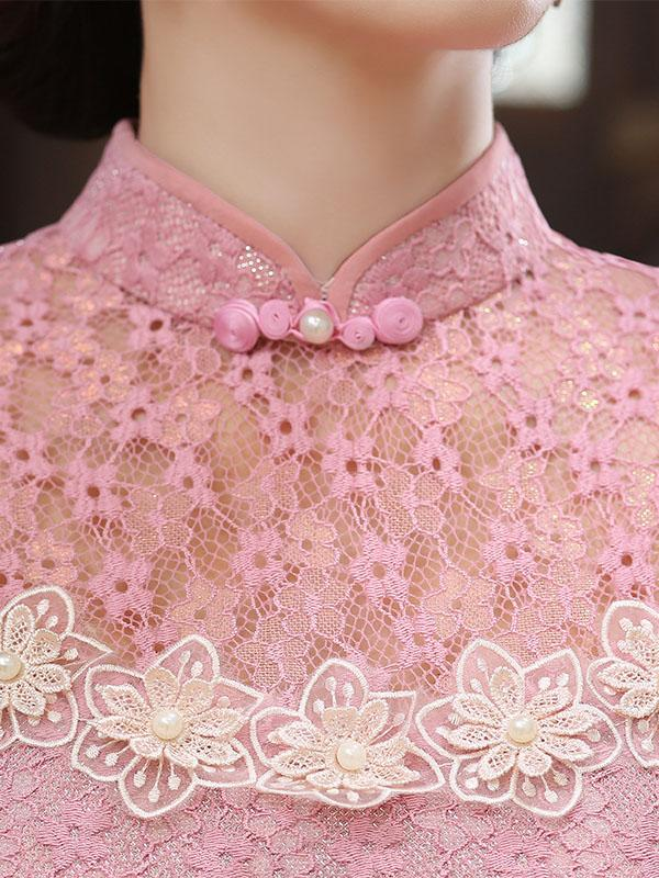 Pink Lace Hollow Short Cheongsam - Zebrant