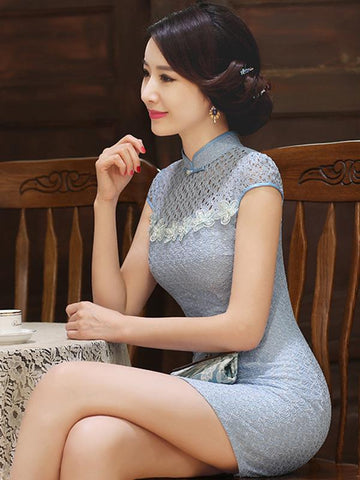 Blue Lace Hollow Short Cheongsam - Zebrant