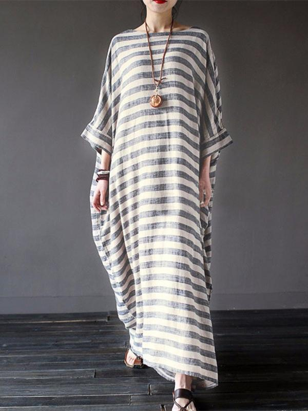 Original Loosen Long Casual Dress in Stripes