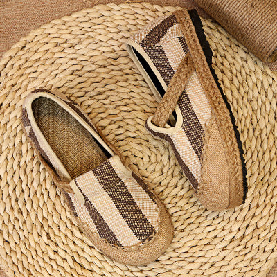 Linen comfortable breathable sandals canvas one pedal lazy shoes - Zebrant