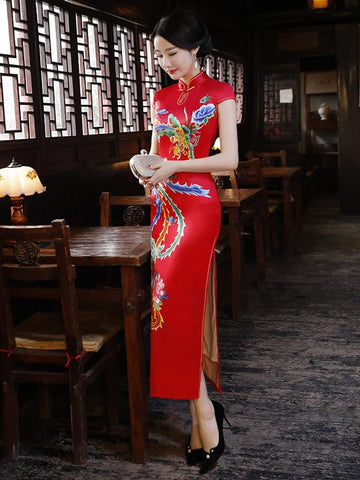 Red Phoenix Print Split-side Long Cheongsam - Zebrant