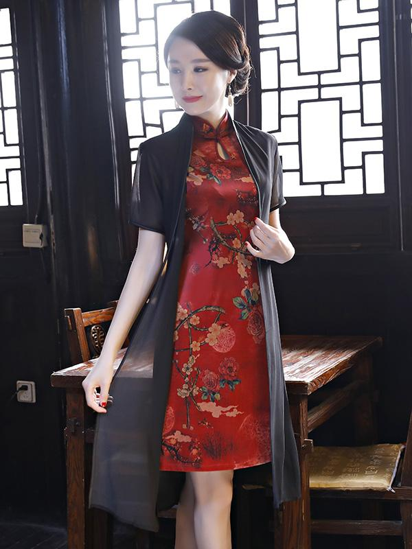 Two Pieces Flower Print Split-side Short Cheongsam - Zebrant
