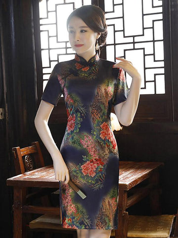 Navy-blue Peony Print Split-side Short Cheongsam - Zebrant