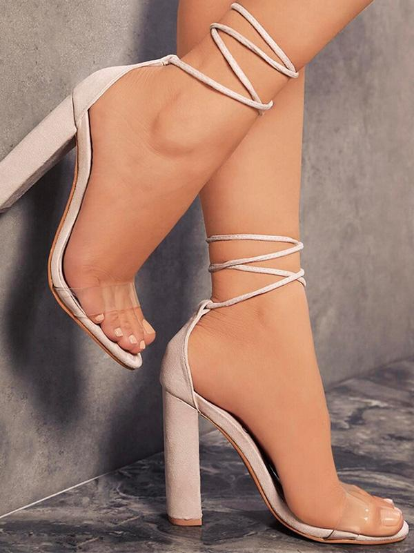 Pretty Bandage Chunky Heels Shoes - Zebrant