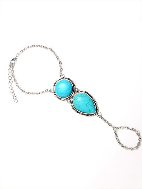 Vintage Turquoise With Ring Bracelet Accessories - Zebrant
