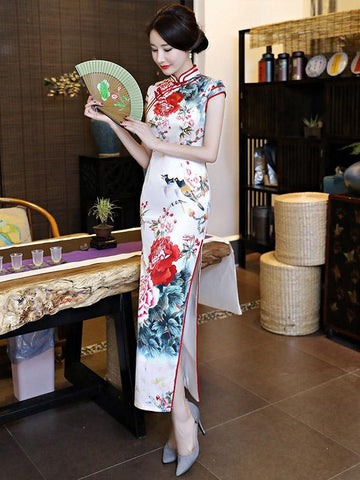Elegant White Peony Print Long Cheongsam Dress - Zebrant