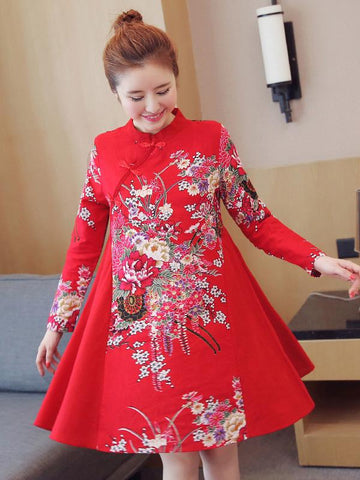 Chinese Traditional Short Dress in Red with Floral Print