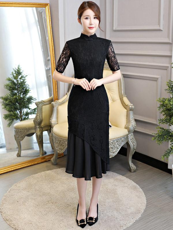 Black Lace Mermaid Stand-collar Long Cheongsam - Zebrant
