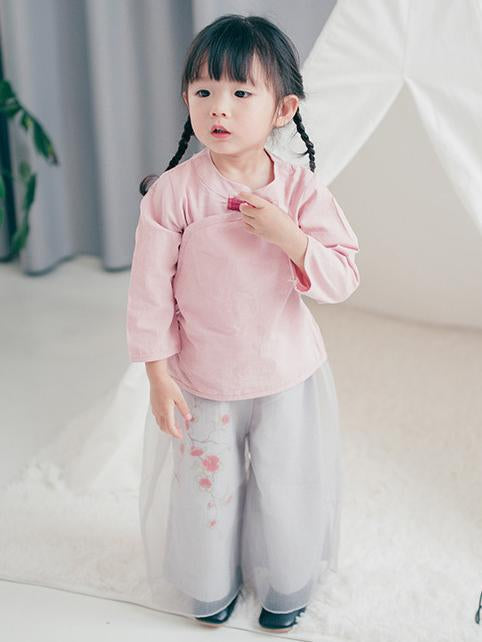 Chinese Style Original Little Girl Suit Pants and T-shirt with Floral Ornament - Zebrant