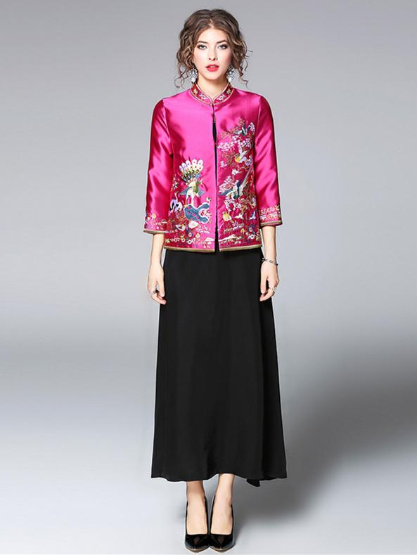 Fuschia Embroidered Cheongsam Tops Outwears - Zebrant