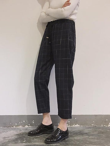 Simple Plaid Casual Harem Pants - Zebrant