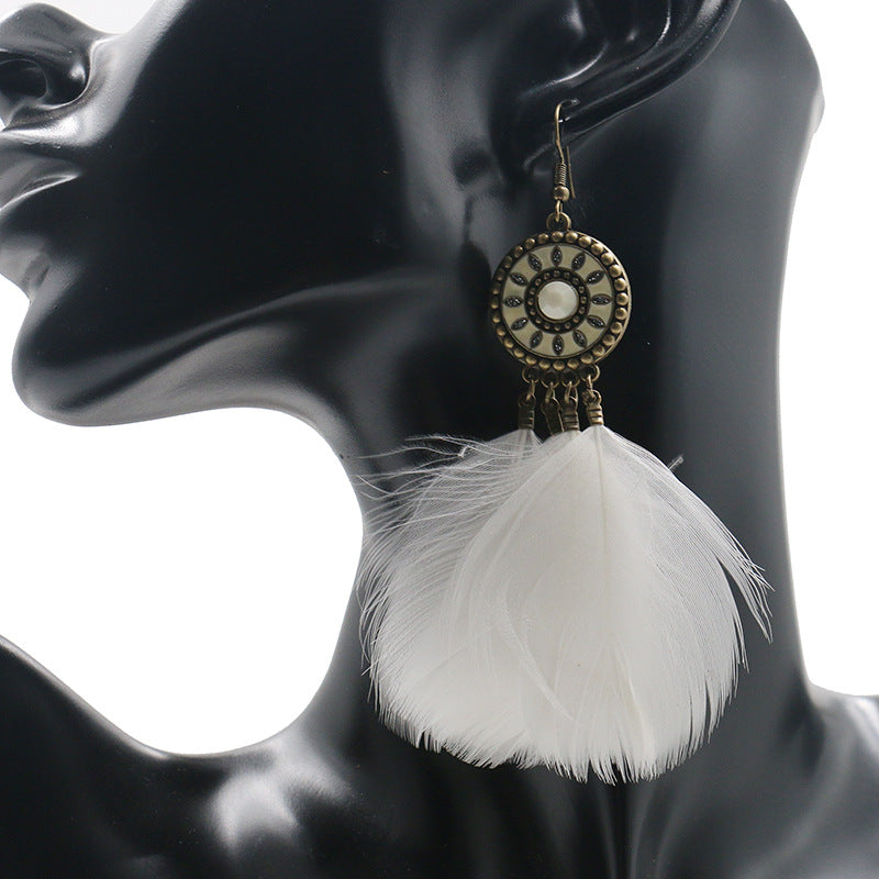 Alloy earrings female fluffy feather tassel long earrings - Zebrant