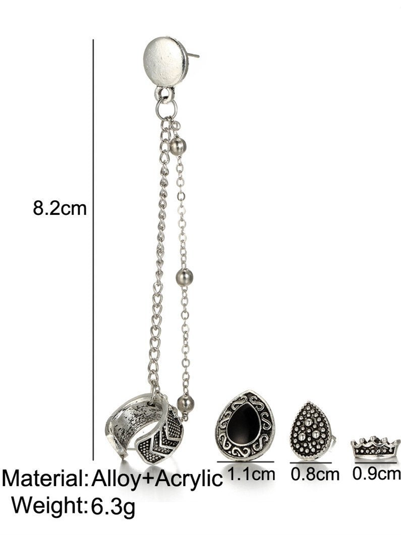 4 PCS Vintage Chain Tassels Crown&Water Drop Pattern Earrings - Zebrant