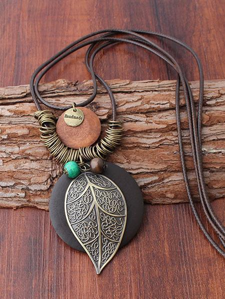 Natural Pendant Rings Leaf Combo Necklace - Zebrant