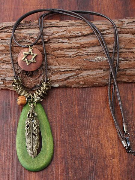 Natural Green Stone Metal Feather Star Combo Necklaces