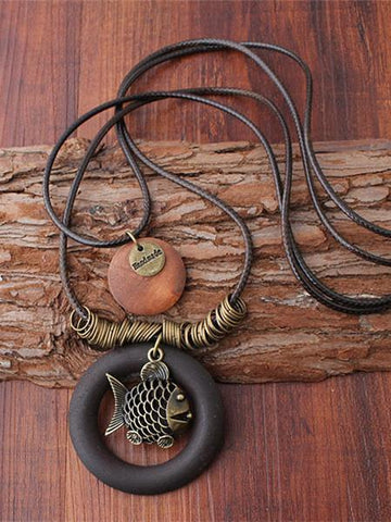 Sea Style Expressive Rings Fish Combo Necklaces