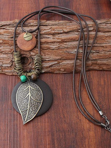 Natural Pendant Rings Leaf Combo Necklace