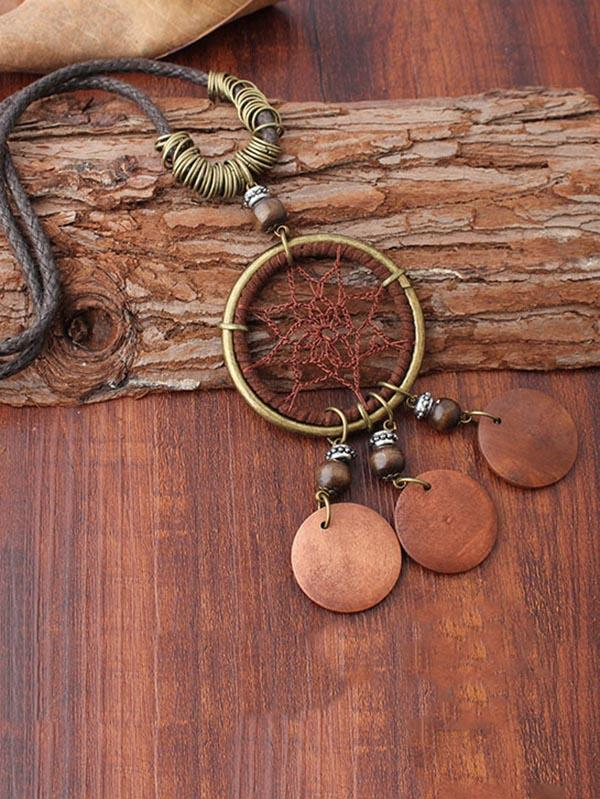 Original Net Ring Necklace Combo with Round Wooden Pendant