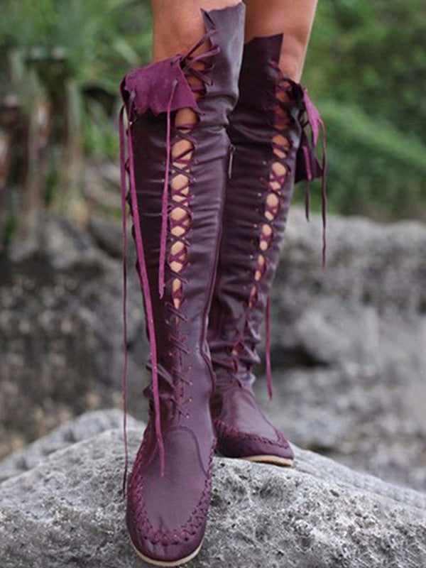 straps slim Over knee Boots - Zebrant
