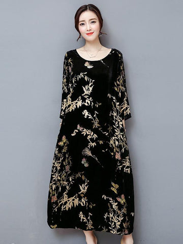 Round Collar Black Long Dress with Floral Print
