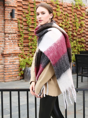 Casual Plaid Scarf with Tassels, Five Colors