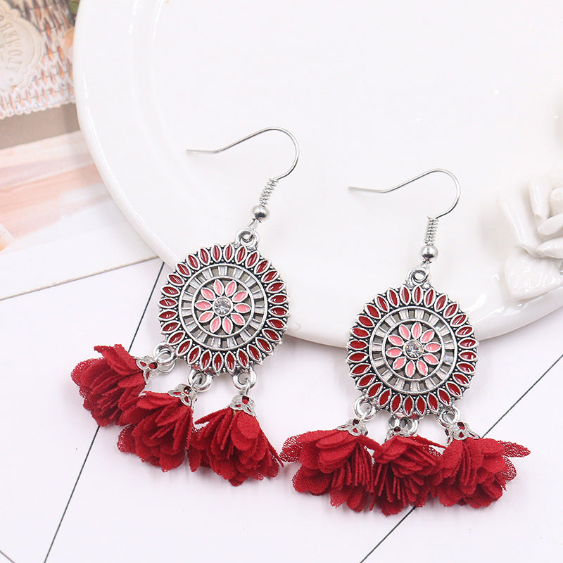 6 color Fashion red flower creative tassels earrings - Zebrant