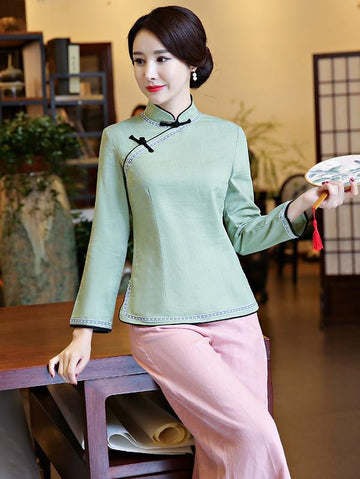 Gray-green Ramie Cotton Cheongsam Tops - Zebrant