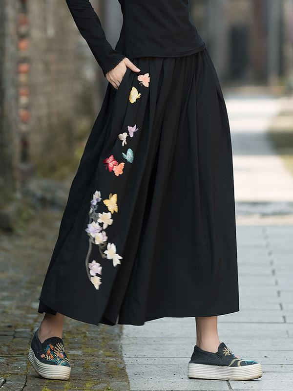 National Embroidered Wide Leg Loose Casual Pant - Zebrant