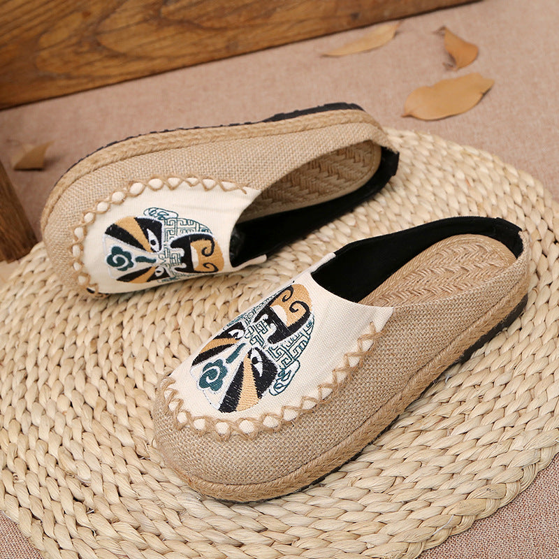 Peking Opera Mask National Wind Women's Shoes Manual Linen Straw Embroidered Slippers - Zebrant