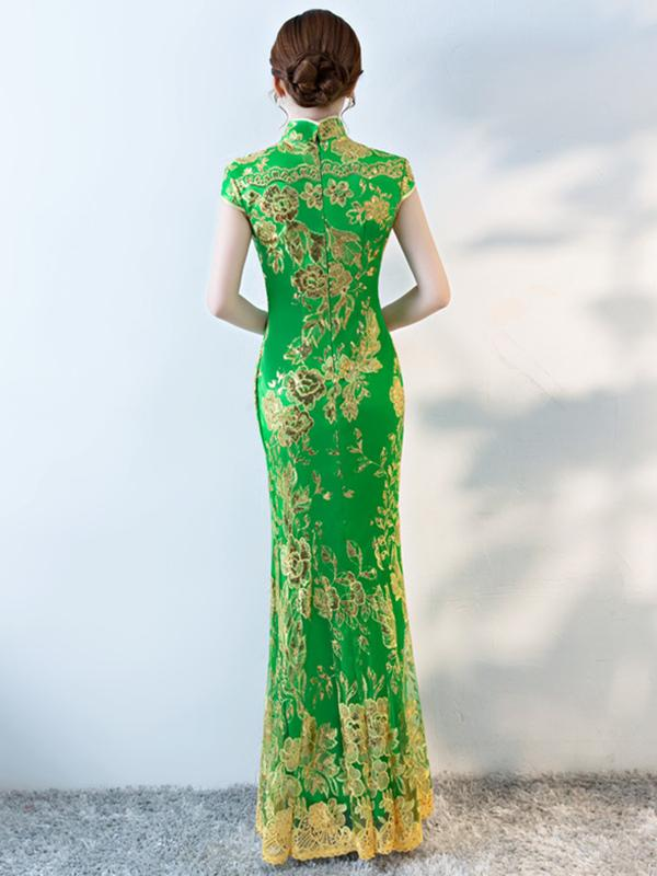 Formal Lace Embroidered Mermaid Cheongsam Evening Dress - Zebrant