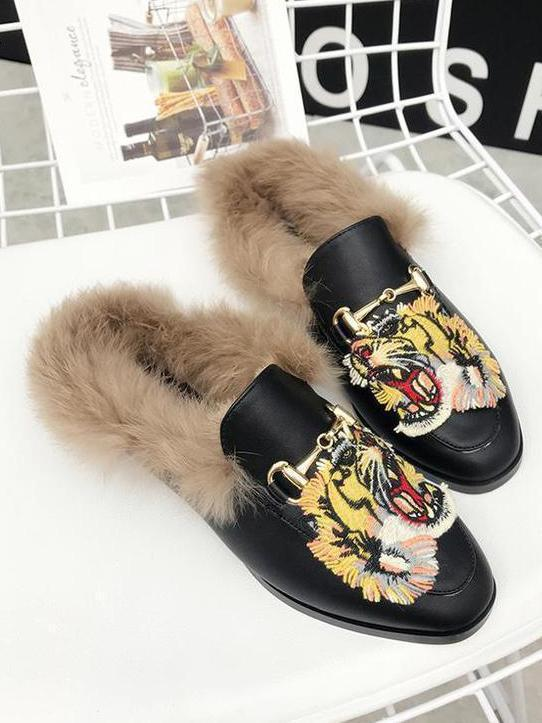 Tager Embroidered Faux Fur Flat Slippers - Zebrant