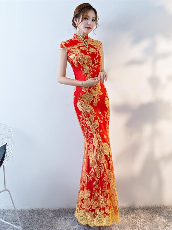 Red Lace Embroidered Mermaid Cheongsam Evening Dress - Zebrant