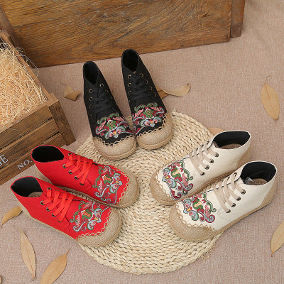 Embroidered retro ethnic style cotton linen flat casual tie linen shoes - Zebrant
