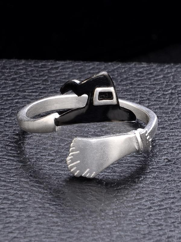 Halloween Witch's Hat&Broomstick Hollow Rings - Zebrant