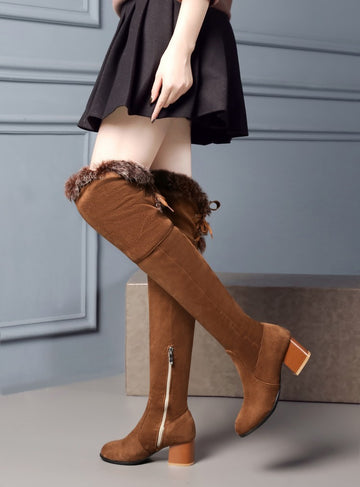 Fashion Rbbit Hair Over knee Boots - Zebrant