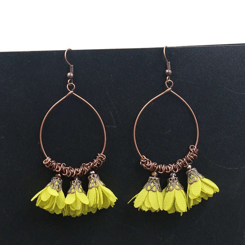 Vintage Drop Earrings Fabric Flower Earrings Super Fairy Tassel Earrings - Zebrant