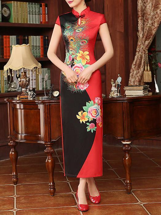 Floral Split-joint Long Cheongsam Dress - Zebrant