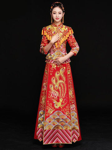 Phoenix Embroidered Tasseled Xiuhe Suit Toast Suit Wedding Dress - Zebrant