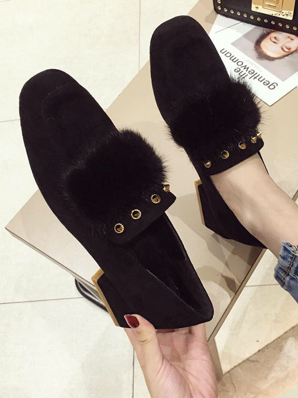Wool Rivet Artificial Fur With Wild Mary Jane Shoes - Zebrant