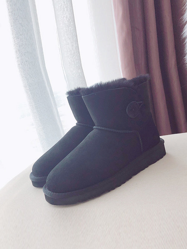 Pure Wool Leather Winter Cotton Boots Uggs - Zebrant