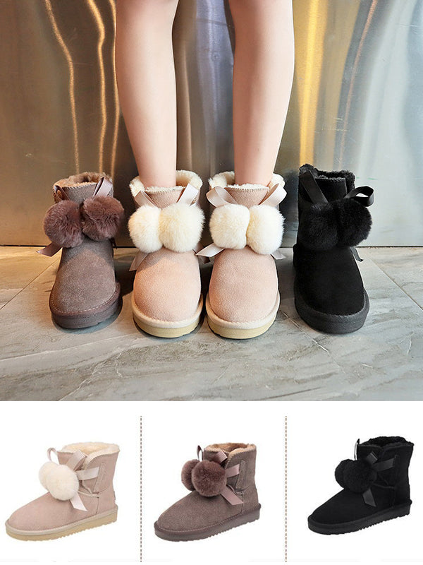 Korean Style Fur Ball Short Snow Boots Uggs
