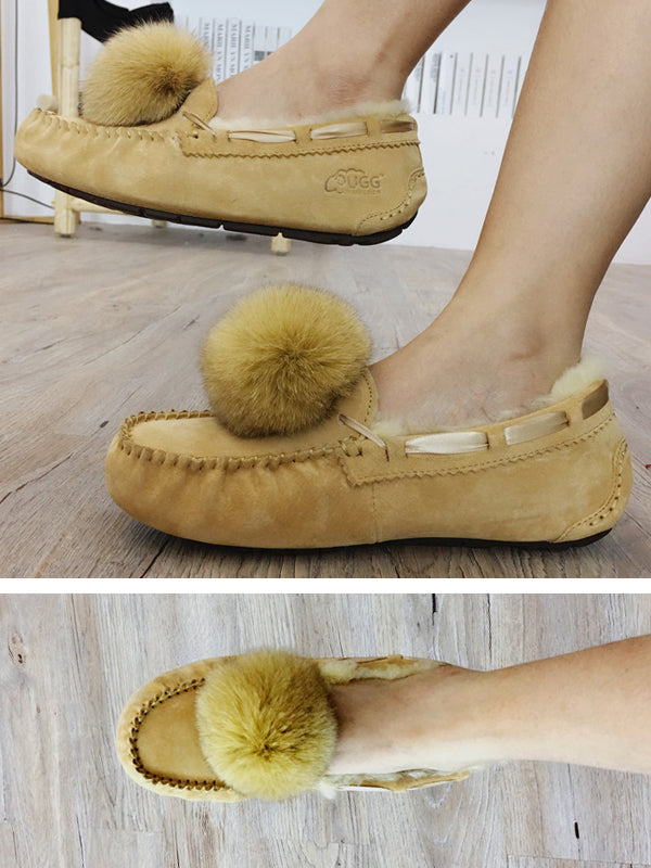 Artificial Fur Ball Shoes Fashion Snow Boots